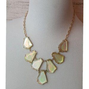 Statement Necklace--Gold/Iridescent Cream Stones